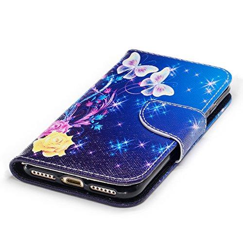 Para iPhone 7/7G (4,7 zoll) funda, (Panda tímido) caja del teléfono de la PU patrón en pintado ,Función de Soporte Billetera con Tapa para Tarjetas soporte para teléfono Bailarina de mariposas