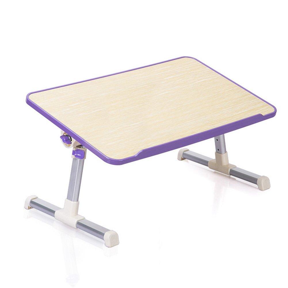 PENGFEI Notebook Laptop Desk Portable Bed Sofa Table Multifunction Foldable Height Adjustable Desktop Tilt Learn Artificial Board 52x30CM (Color : Purple)
