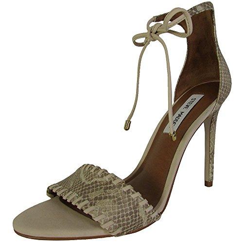 Steve Madden Womens Salllie High Heel Sandal Shoes, Natural Snake, US 7
