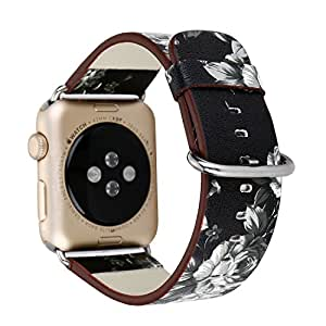 PartsExtra 38mm Apple Watch Band Floral Soft PU Leather Replacement Watchband with Secure Metal Clasp Buckle for Apple Watch Series 3 Series 2 Series 1 Sport and Edition (Black + Gray 38mm)