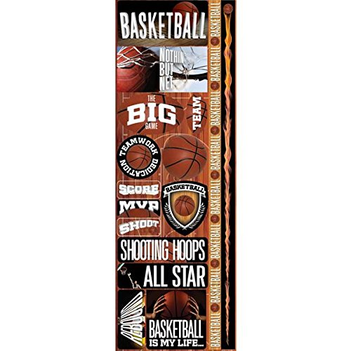 - Reminisce Real Sport Die-Cut Cardstock Combo Stickers, 4.25 by 13-Inch, Basketball