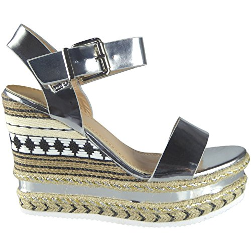 Damen Fesselriemen Espadrilles Plattform Keil Sandalen Size 36-41 Silber