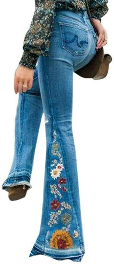 Femmes Évasé Jean Pantalon Bootcut Jambe Large Taille Haute Slim Bleu