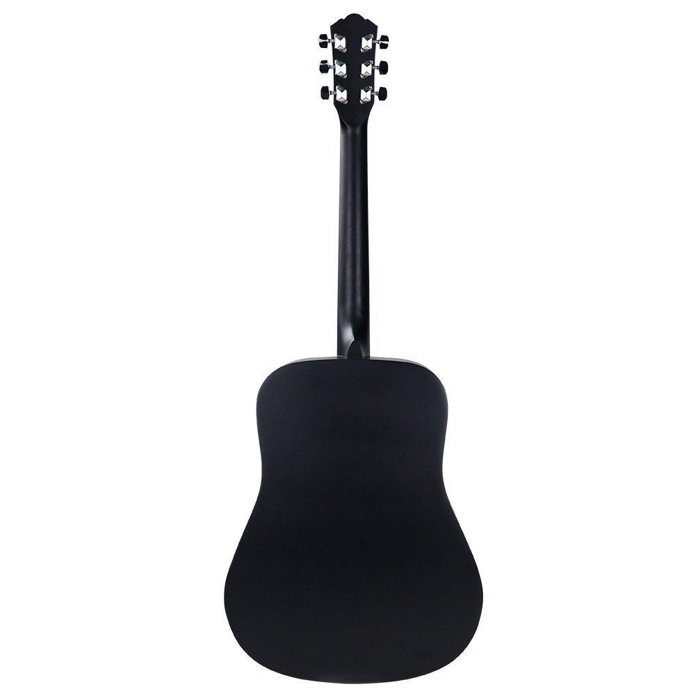 Strong Wind guitarra acústica negra 41 pulgadas tamaño completo cuerdas de metal kit de funda, cuerdas extras, púas, paño de limpieza: Amazon.es: ...