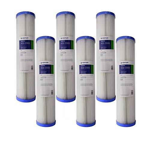 Pentek R30-20BB 30 Micron Whole House 20 x 4.5 Pleated Sediment Filter 6 Pack by Pentek