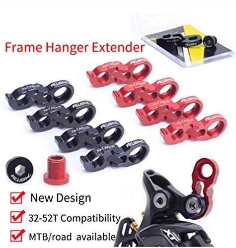 Zsling Extra Long MTB Road Bike Rear Derailleur Hanger Extender with M10 Screws Derailleur Hanger fit 34-52T Flywheel Aluminum Frame Hanger Extender Kit 11g Black Red