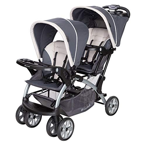 Baby Trend Sit N' Stand Easy Fold Twin Double Infant Toddler Stroller, Magnolia