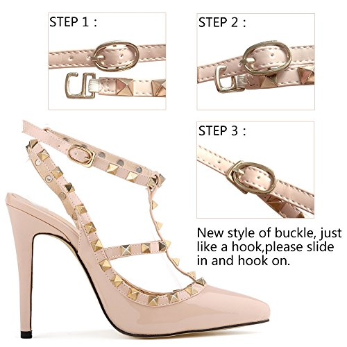 Ankle Womens Nude Stiletto High Strap Rivet Pumps Loslandifen Heels COFw1Xwq