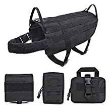SlowTon Tactical Dog Vest, Adjustable Waterproof Training Molle Harness with 3 Detachable Pouches and 2 handles, Quick Release Military Service & Police Medium Large Dogs Harness for Walking, Hiking and Camping (M)