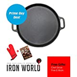Iron World Hand Made Pizza Pan with Chef Glove and BBQ Recipes eBook, 14 Inch