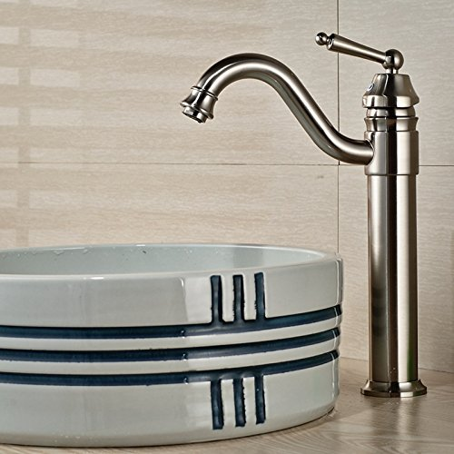 HJ Kupfer Hochwertig Gebürstetem Nickel Waschtisch Wasserhahn Bad  Waschbecken Groß Heißen Und Kalten Wasserhahn: Amazon.de: Küche U0026 Haushalt