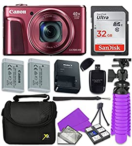 Canon PowerShot SX720 HS Wi-Fi Digital Camera (Red) with Sandisk 32 GB SD Memory Card + Extra Battery + Tripod + Case + Card Reader + Cleaning Kit