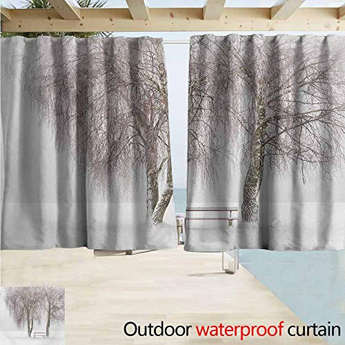 Lcxzjgk Winter Outdoor Waterproof Curtain Bench in The Park on a Snowy Cold Winter Day in Storm Wind Blizzard Holiday Picture Great for Living Rooms & Bedrooms W55 xL63 White Brown