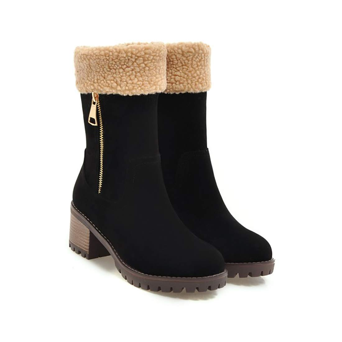 27d55291b88 Susanny Snow Boots for Women Suede Mid Calf Winter Zip Cute Booties Round  Toe Low Heel Warm Shoes