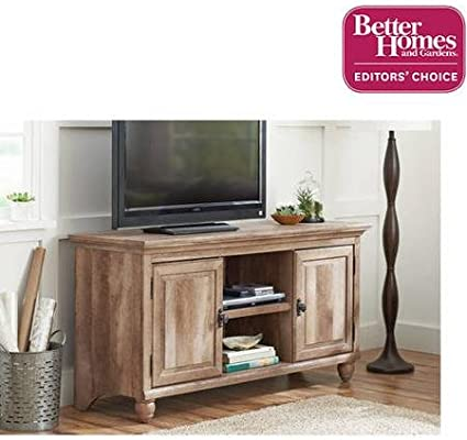 Better Homes and Gardens Crossmill Collection TV Stand Buffet for TVs up to 65 With 3 Adjustable Shelves Weathered
