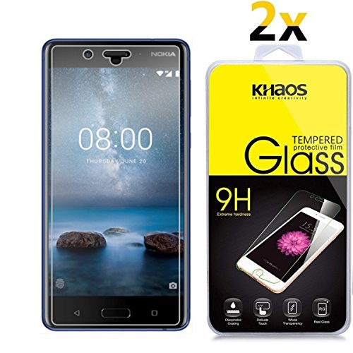 [2 Pack] Khaos For Nokia 8 HD Clear Tempered Glass Screen Protector , with Lifetime Replacement Warranty