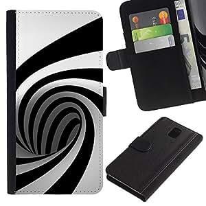 KingStore / Leather Etui en cuir / Samsung Galaxy Note 3 III / Geometría Mente Ben Patrón