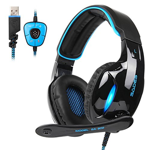 SADES SA902 7.1 Channel Surround Stereo Wired USB PC Gaming Headset Over Ear Headphones with Mic Revolution Volume Control Noise Canceling LED Light For PC Gamers