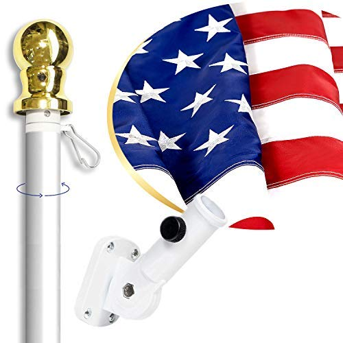 American Flag Kit Includes: 6ft Spinning Flagpole, 3x5 Embroidered US Flag, Adjustable Wall Mount Flag Holder, Commercial Residential Indoor Outdoor Use | US Flag Kit, Silver ()