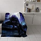 Khaki home Children's Blanket Digital Printing All Season Blanket (70 by 90 Inch,Fantasy World,Surreal Werewolf with Electric Eyes in Full Moon Transformation Folkloric,Purple Blue