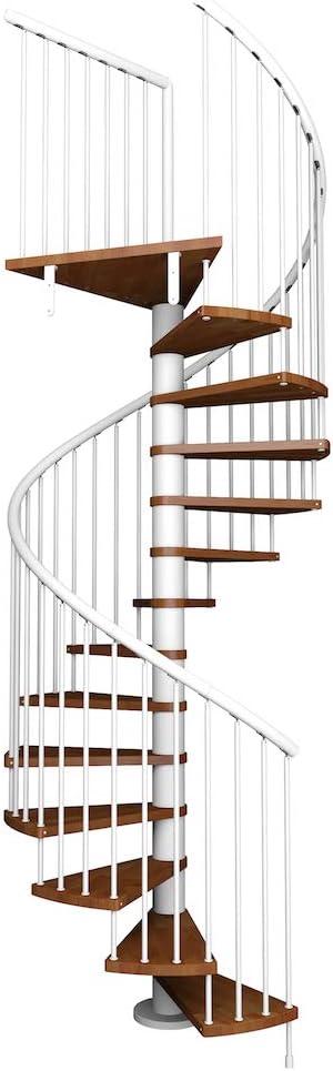 Idealkit KUBO. Escalera de caracol modular para interior con peldaños de madera de haya maciza. Para una altura de 252 cm. hasta 276 cm. (Diámetro 130 cm, Metal y plástico: Negro |