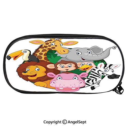 Kid School Pencil BagExotic Safari Animals All Together Comic Creature with Zebra and Elephant Friend Trek Sketch Cute Printing Pen Case Adult Office Accessories Pencil HoldersMulti ()