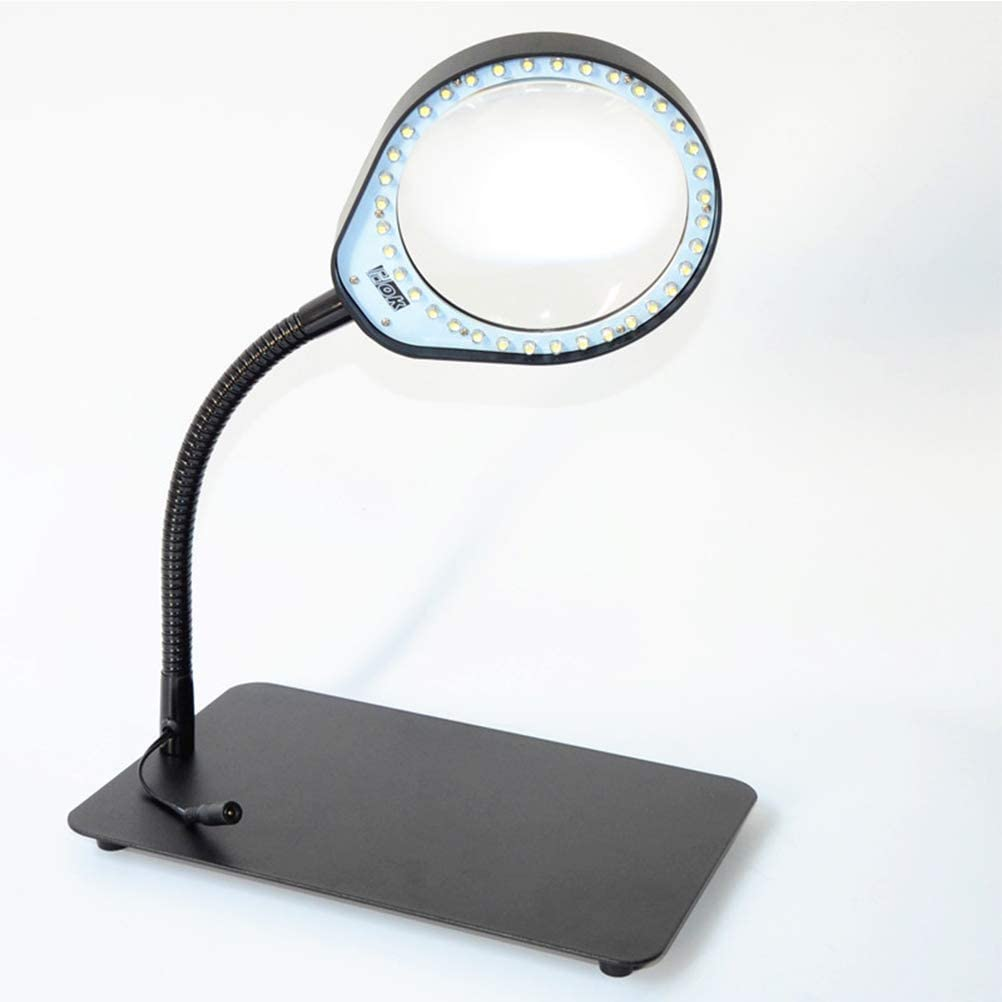Magnifying Lamp 3X//5X//8X//10X with LED Light Brightness Adjustment Bracket Bendable HD White Lens for Inspection Repair and Elderly Reading Magnifying