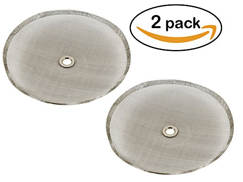 (Eatery 5 Reusable Stainless Steel Coffee Filter Replacements for 8 Cup French Press - 2 pack of 4 inch Filters with Universal Fit)