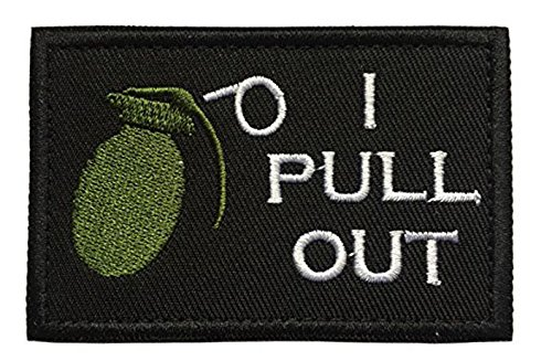 Antrix Black I Pull Out The Grenade Funny Military Hook & Loop Tactical Patch