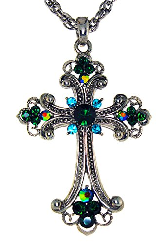 Green Crystal Cross Necklace - Stunning Gothic Pewter Cross with Austrian Crystal-Green