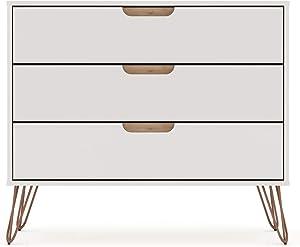 Manhattan Comfort Rockefeller Mid-Century Modern 3 Drawer Bedroom Dresser, 35.24