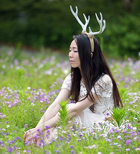 Christmas Decor Festival Celebration Accessory Props Cos Cute White Snow Deer Reindeer Antlers Head Hair Band Photo Shoot Forest Goddess Headdress (Antler Accessories)
