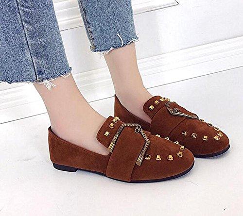 KUKI Quadratische Schuhe flache Schuhe weiche flache Schuhe Gürtelschnalle einzelne Schuhe , 1 , US5.5 / EU35 / UK3.5 / CN35
