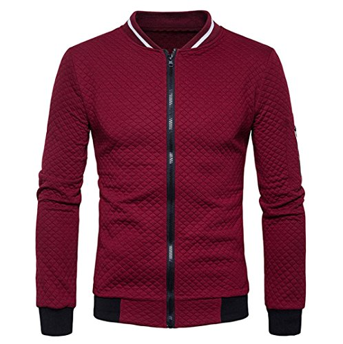 Men's Slim Fit Sport Coats - Perman Long Sleeve Zip Cardigan Sweatshirt Casual Coat (Small = Chest 41, Wine Red)
