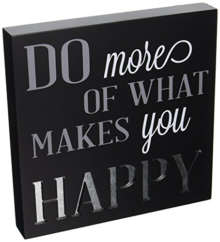 Malden International Designs Laser Cut Wood Block Sign Do More Of What Makes You Happy Wall Décor Box Sign, 9x9, - Block Laser