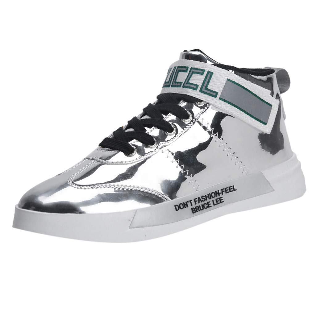 Fheaven Men's Trend Sequins Mirror Sneakers Nightclubs High-Top Casual Shoes Silver by Fheaven-shoes