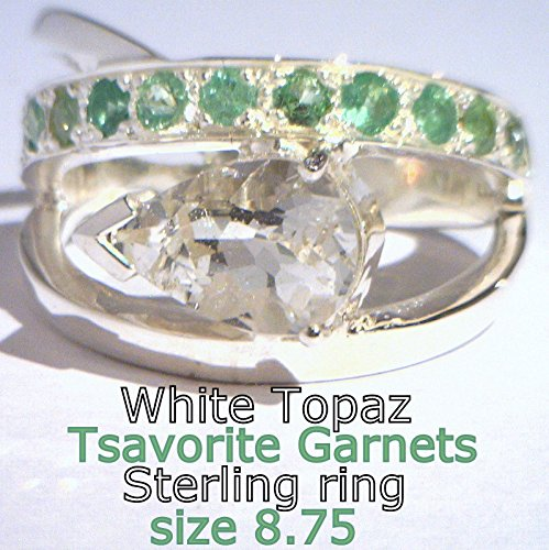 [Clear White Topaz Green Tsavorite Garnets Handmade Sterling Ladies Ring sz 8.75] (Tsavorite Green Garnet)