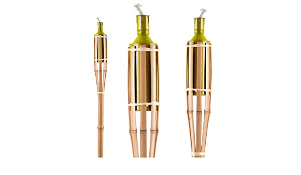 3er Set de bambú para antorchas de jardín Iluminación para colgar en el balcón de una lámpara de porche de PRADO de aceite de colour amarillo: Amazon.es: Iluminación