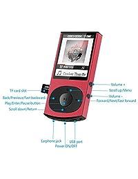 AGPTEK   Reproductor MP3 con Bluetooth 4.0, carcasa metálica de 8 GB con sonido sin pérdida, soporta radio FM Shuffle de reproducción (versión actualizada), ampliable hasta 128 G, rojo (C3)