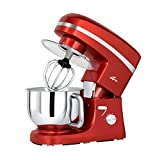: Litchi Stand Mixer, 5.5 Qt. Kitchen Mixer, 650W 6 Speed Tilt-Head Stand Mixers with Splash Guard, Stainless Steel Bowl, Beaters, Whisk, Dough Hook, Red