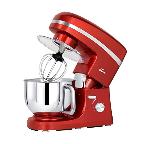 Litchi Stand Mixer, 5.5 Qt. Kitchen Mixer, 650W 6 Speed Tilt-Head Stand Mixers with Splash Guard, Stainless Steel Bowl, Beaters, Whisk, Dough Hook, Red (Stainless Guard Back)