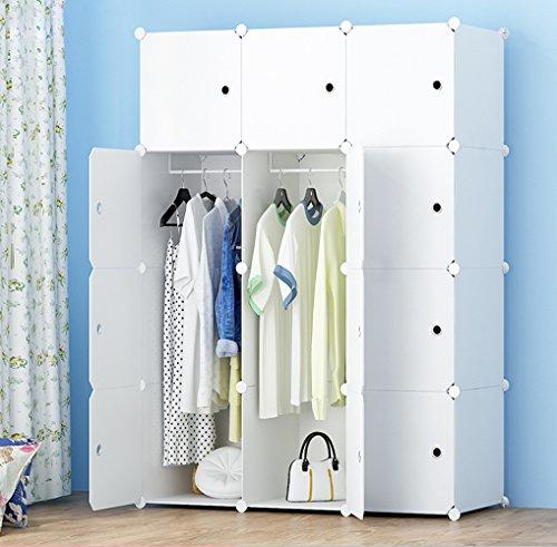MEGAFUTURE Portable Wardrobe for Hanging Clothes, Combination Armoire, Modular Cabinet for Space Saving, Ideal Storage Organizer Cube for books, toys, towels(12-Cube, Extria Stickers (Bedroom Wardrobe Doors)