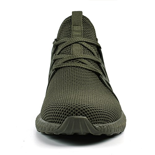 Athletic Qansi Shoes Trainers Lightweight Green Womens Sport Comfy Walking Army OwHqUw