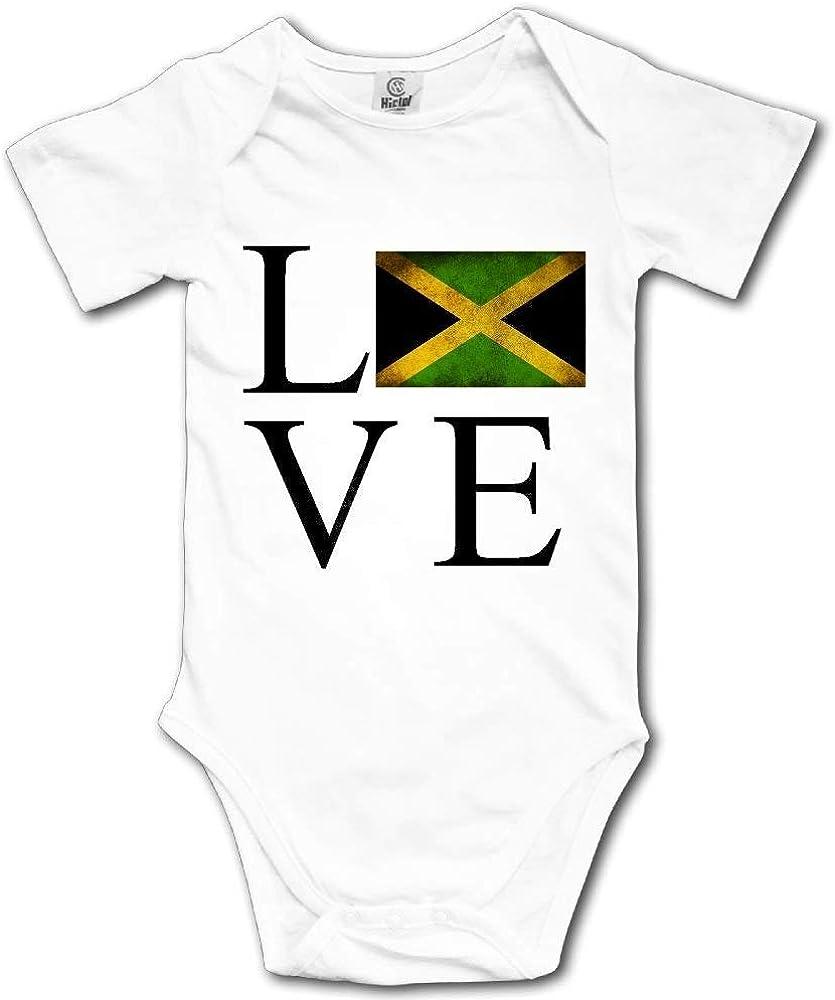 HFJFJSZ Love Jamaica Flag Short Sleeve Baby Bodysuit Onesies