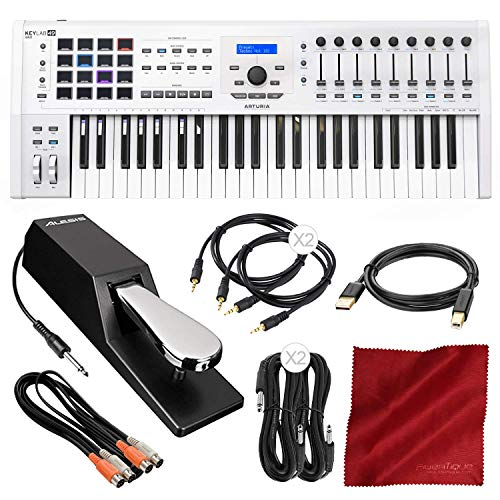 (Arturia KeyLab MKII 49 Professional MIDI Keyboard Controller and Software (White) with Sustain Pedal & Assorted Cables Deluxe Bundle)