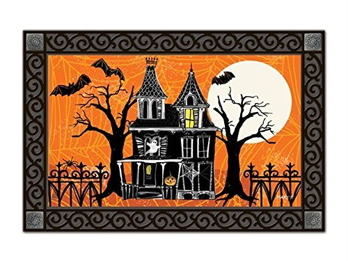 Haunted House Halloween Doormat Full Moon Spooky Indoor Outdoor 18