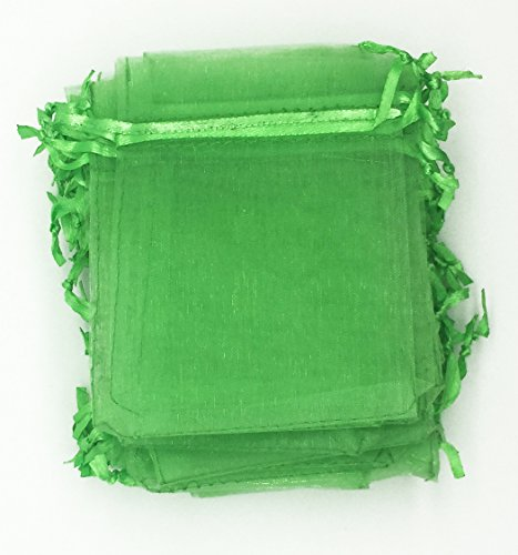 100pcs Pale Green Organza Drawstring Pouches Jewelry Party Wedding Favor Gift Bags 3*4 Inch