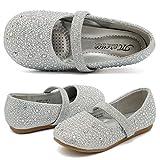 CIOR Toddler Girls Ballet Flats Shoes Ballerina Jane Mary Wedding Princess Dress,VGZA2,Shine-Silver Glitter,25
