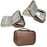 Electronics Travel Organizer-BUBM Universal Waterproof Travel Gear Organizer Cable Organizer Storage Bag for Various USB, Charger, Phone and iPad Mini-Coffee Gold