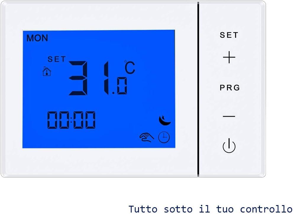 LEDLUX LL0256 - Termostato con pantalla LCD, teclas táctiles, rectangulares, estándar, 503, programa semanal, para caldera de gas alimentado con 2 pilas AA